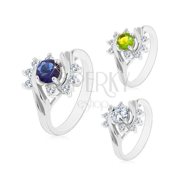 Prsten s lesklými rameny ve stříbrném odstínu, barevný zirkon, čiré oblouky