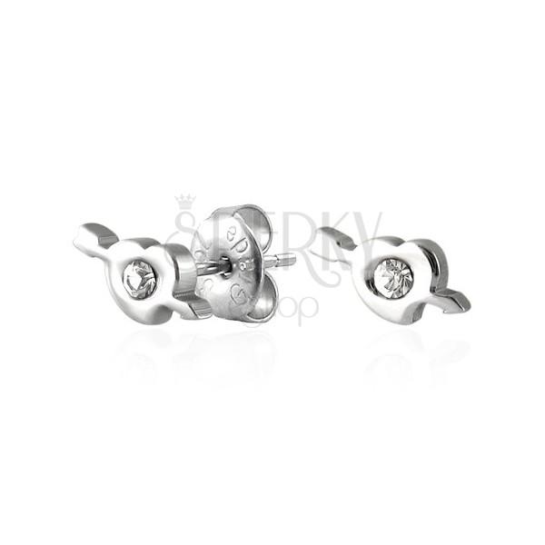 Ocelové náušnice srdíčko a amorův šíp se zirkonem