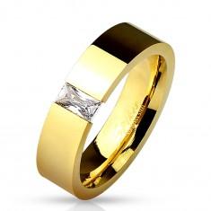 Lesklý ocelový prsten zlaté barvy, vsazený obdélníkový čirý zirkon, 6 mm