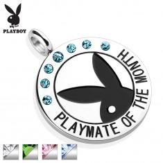 Ocelový kruhový přívěsek stříbrné barvy, černý zajíček Playboy, zirkonky, nápis
