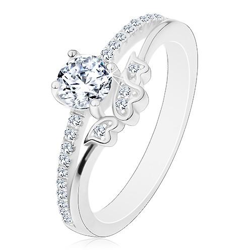 Prsten ze stříbra 925 - zásnubní, čirý zirkon a třpytivá ramena, srdíčka - Velikost: 49