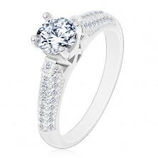 Stříbrný prsten 925, kulatý čirý zirkon, třpytivá zirkonová ramena