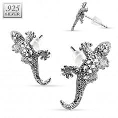 Puzetové náušnice, stříbro 925 - blýskavé ještěrky s čirými zirkonky