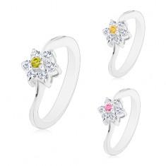 Prsten s úzkými zvlněnými rameny, kvítek s barevným středem