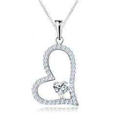 Stříbrný náhrdelník 925, asymetrická kontura srdce, čiré zirkonové srdíčko