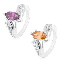 Blýskavý prsten stříbrné barvy, barevné broušené zrnko, zahnutá ramena