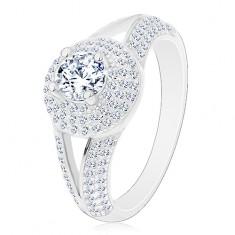 Stříbrný prsten 925 - zásnubní, rozdělená ramena, zářivý kruh se zirkonem