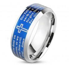Lesklý prsten z oceli 316L, modrý pás s křížem a modlitbou, 8 mm