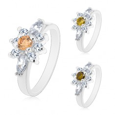 Prsten ve stříbrné barvě, čirý zirkonový kvítek s barevným středem