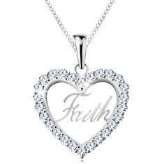 Stříbrný 925 náhrdelník, zirkonový obrys srdce, nápis Faith, tenký řetízek