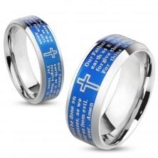 Ocelový prsten s modrým středovým pásem, křížem a modlitbou, 6 mm