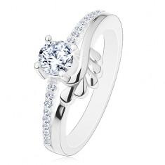 Zásnubní prsten, stříbro 925, čirý zirkon a třpytivá ramena, lístečky