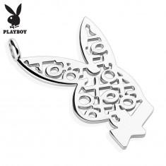 Přívěsek z chirurgické oceli stříbrné barvy, zajíček Playboy, vzor piškvorky