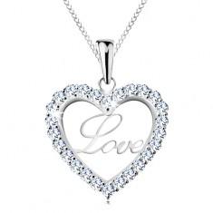 Stříbrný náhrdelník 925, tenký řetízek, třpytivá kontura srdce, nápis Love