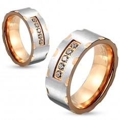 Dvoubarevný ocelový prsten, stříbrný a měděný odstín, zářezy, čiré zirkony, 6 mm