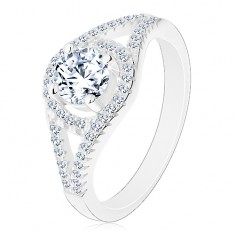 Blýskavý zásnubní prsten, stříbro 925, rozdvojená ramena, kruh se zirkonem