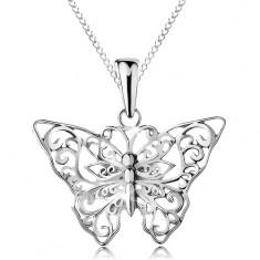 Stříbrný 925 náhrdelník, motýlek s vyřezávanými ornamenty, řetízek