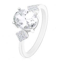 Prsten ze stříbra 925, oválný zirkon čiré barvy, zirkonové kosočtverce