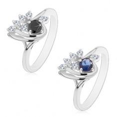 Prsten stříbrné barvy, asymetrická kapka s čirými a barevnými zirkony