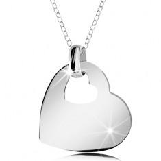 Stříbrný náhrdelník 925, lesklé srdce s výřezem ve tvaru malého srdíčka, řetízek