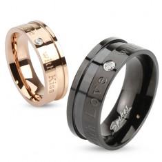 Černý prsten z oceli 316L, nápisy a vsazený kulatý zirkonek čiré barvy, 8 mm