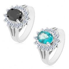 Prsten s rozdělenými rameny, barevný zirkonový ovál s čirou obrubou