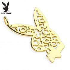 Ocelový přívěsek zlaté barvy, zajíček Playboy, vzor z křížků a kruhů