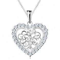Nastavitelný náhrdelník, stříbro 925, strom života v srdíčku, čiré zirkony