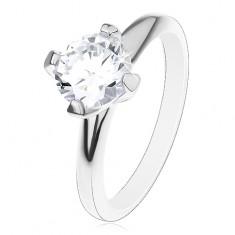 Zásnubní prsten ze stříbra 925, vyvýšený kulatý zirkon čiré barvy