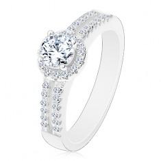 Stříbrný prsten 925, rozdělená zirkonová ramena, čirý zirkon s lemem