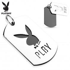 Přívěsek z oceli 316L, dvě lesklé známky, zajíček Playboy, písmena PLBY
