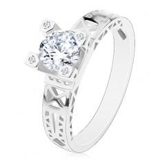 Zásnubní prsten - stříbro 925, výřezy na ramenech, čirý zirkon v ozdobném kotlíku
