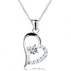 Stříbrný náhrdelník 925, čirý zirkon v asymetrické kontuře srdce, řetízek