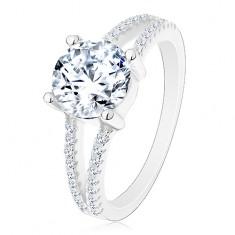 Stříbrný 925 prsten - zásnubní, rozdělená zirkonová ramena, zářivý kulatý zirkon
