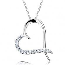 Náhrdelník ze stříbra 925, řetízek a obrys srdce se zirkonovou polovinou