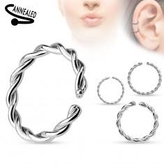 Piercing do nosu nebo ucha, chirurgická ocel, spirálovitě zatočený kroužek