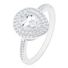 Stříbrný zásnubní prsten 925, čirá broušená kapka ve dvojité kontuře