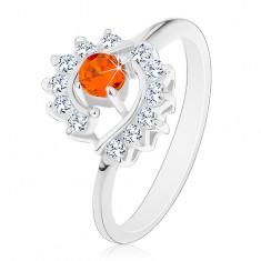 Prsten stříbrné barvy, čiré zirkonové oblouky, kulatý oranžový zirkon