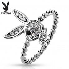 Prsten stříbrné barvy, zajíček Playboy s čirými zirkony a s černým očkem