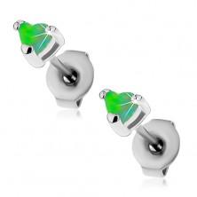 Ocelové náušnice stříbrné barvy, syntetická opálová srdíčka zelené barvy, 3 mm