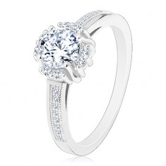Zásnubní prsten - stříbro 925, zářivý čirý zirkon, dvojice drobných zirkonků
