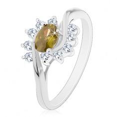Prsten stříbrné barvy, olivově zelený zirkonový ovál, čiré obloučky