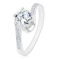 Prsten ze stříbra 925, lesklá ramena se zahnutými konci, kulatý čirý zirkon