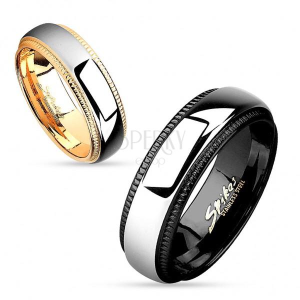 Prsten z chirurgické oceli, lesklý pás stříbrné barvy, okraje s vroubky, 6 mm