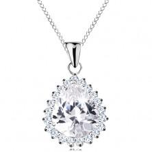 Stříbrný náhrdelník 925, velká broušená kapka čiré barvy, blýskavý lem