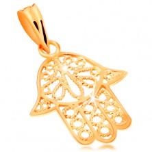 Zlatý přívěsek 585 - ozdobně vyřezávaná Fatimina ruka, lesklý povrch