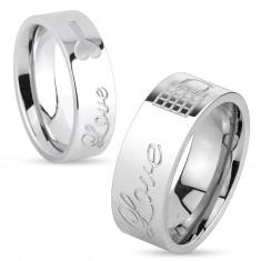 Lesklý ocelový prsten stříbrné barvy, nápis Love a zamknutý zámeček, 8 mm