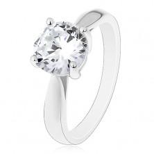 Zásnubní prsten - stříbro 925, lesklá zaoblená ramena, velký čirý zirkon
