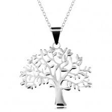 Stříbrný 925 náhrdelník, řetízek a přívěsek - velký košatý strom života