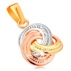 Přívěsek ze 14K zlata - trojbarevné propojené kroužky s gravírováním